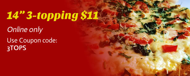 "14"" 3-topping pizza for $11"